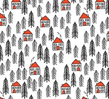 Red Roofed Cabin in the Woods Pattern by Andrea Lauren by Andrea Lauren