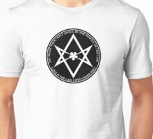 Aleister Crowley - DO WHAT THOU WILT SHALL BE THE WHOLE OF THE LAW - Occult - Thelema (Black On White) Unisex T-Shirt