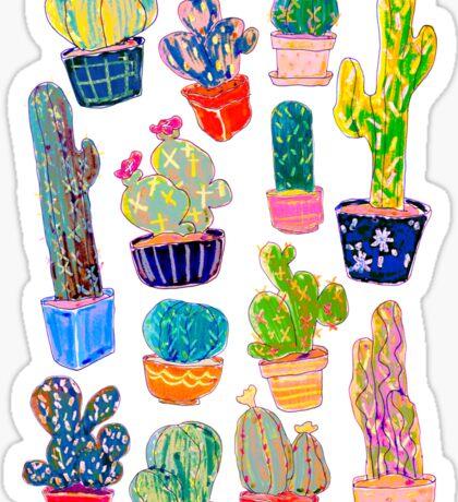 Crazy Colorful Cacti Sticker
