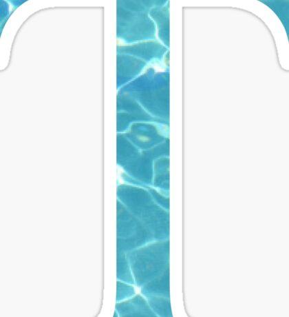 Tau T Tropical Water Blue Greek Sorority Sticker