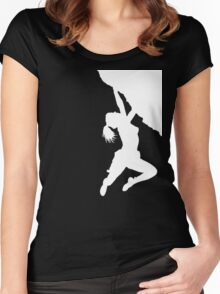 girl bouldering Women's Fitted Scoop T-Shirt