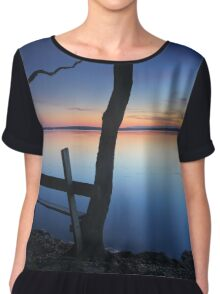 Rustic timber seat by the water on dusk sunset Chiffon Top