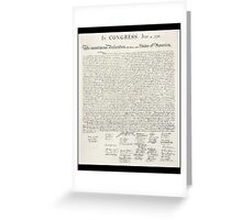 Declaration of Independence, United States of America, American Independence,USA Greeting Card