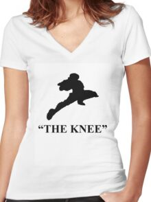 "Captain Falcon ""The Knee"" Women's Fitted V-Neck T-Shirt"