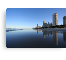 Reflections in the sand, Surfers Paradise Canvas Print