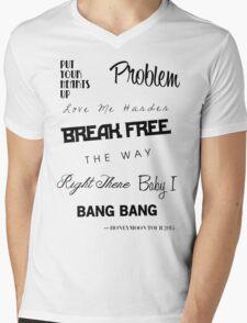 Ariana Grande - Singles Discography 2011-2014 Mens V-Neck T-Shirt