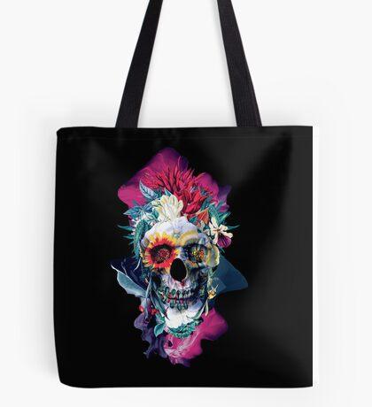 Floral Skull Blue Tote Bag
