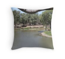 May's Bend on the Darling River near Bourke. Throw Pillow