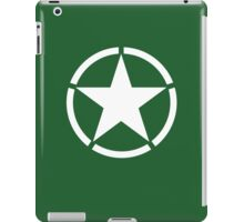 Army Star & Circle, WW11, Jeep, USA, America, American, White on Green iPad Case/Skin