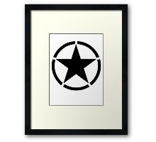 Army Star & Circle, Jeep, WWII, America, American, USA, in Black Framed Print
