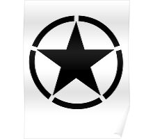 Army Star & Circle, Jeep, WWII, America, American, USA, in Black Poster