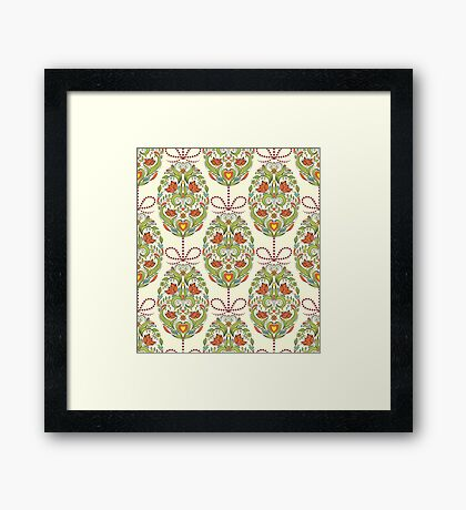 pattern with floral easter eggs Framed Print