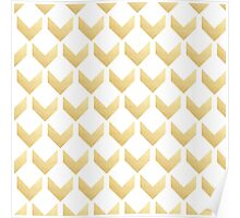 Gold Chevron pattern Hex by row Poster