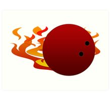 Flaming Bowling Ball Art Print