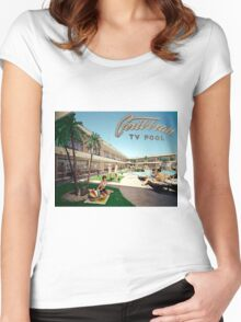 Caribbean Motel Wildwood New Jersey Retro 1960's Photographs Women's Fitted Scoop T-Shirt