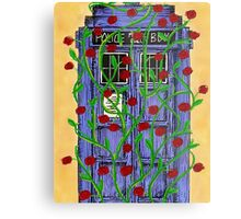 Tardis with Roses Metal Print