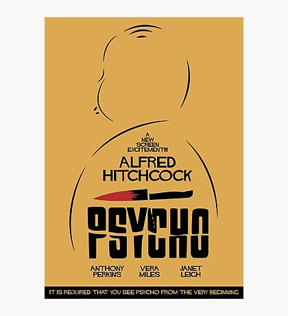 Psycho, Hitchock, 1960, Movie Poster, classic film, horror, thriller, Photographic Print