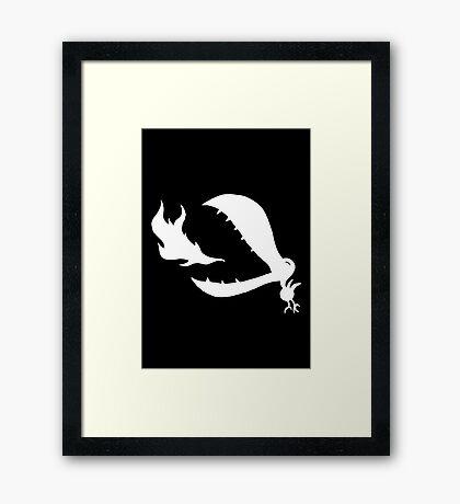 Little Cute Bird - white on black Framed Print