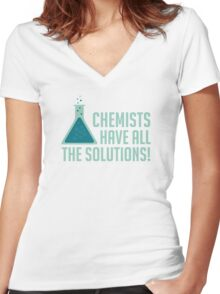 Chemists Have All The Solutions Women's Fitted V-Neck T-Shirt