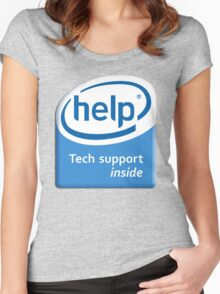 Funny Intel Parody Logo Computer Tech Support Women's Fitted Scoop T-Shirt