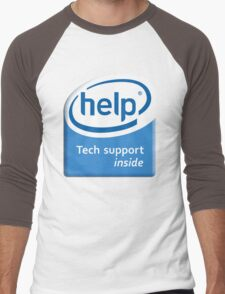 Funny Intel Parody Logo Computer Tech Support Men's Baseball ¾ T-Shirt