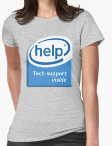 Funny Intel Parody Logo Computer Tech Support Womens Fitted T-Shirt