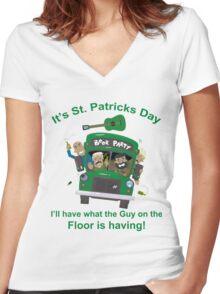 St Patricks Day Shirt - Drunk Guy On The Floor Funny  Women's Fitted V-Neck T-Shirt