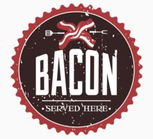 Funny bacon served here vintage emblem Kids Tee