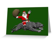 Santa Claus Riding On Grey Panther Greeting Card