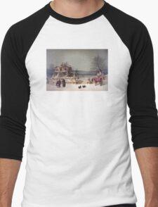 American Winter Scene Men's Baseball ¾ T-Shirt
