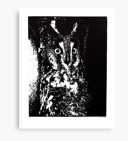 Long Eared Owl Block Print Canvas Print
