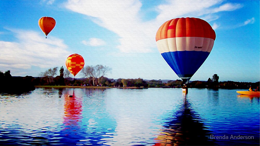 Colourful Balloon over Lake by Brenda Anderson