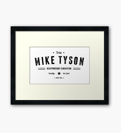 Vintage Mike Tyson Typography (Black Text) Framed Print