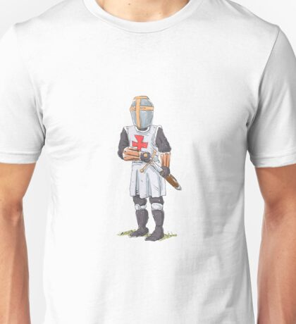 Knight Templar in armour with sword. Unisex T-Shirt