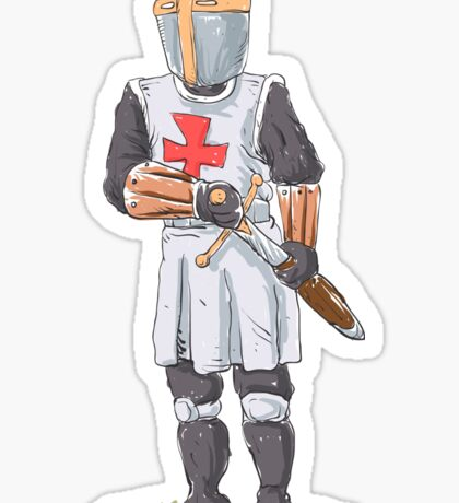 Knight Templar in armour with sword. Sticker