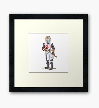 Knight Templar in armour with sword. Framed Print