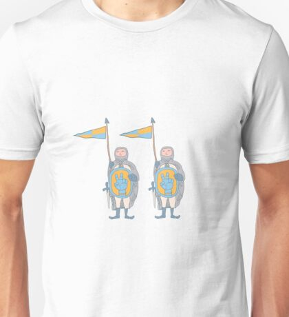 Knights in armour with shield and sword. Unisex T-Shirt