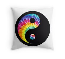 Tie Dye Yin Yang Throw Pillow
