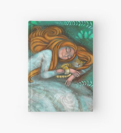 Sleeping with cat Hardcover Journal