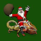 Santa Claus Riding On Giant Panther Chameleon by Mythos57