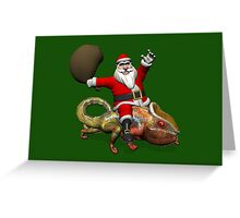 Santa Claus Riding On Giant Panther Chameleon Greeting Card