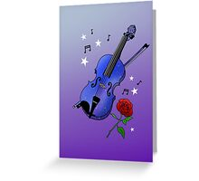 Blue Violin Greeting Card