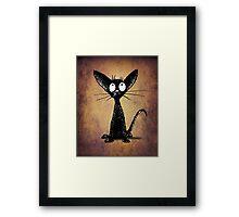 Funny Little Black Cat Framed Print