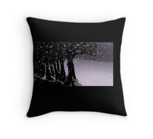 Dark trees and snow Throw Pillow