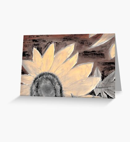 Oil Sunflower Sepia Painting poster print Greeting Card