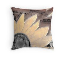 Oil Sunflower Sepia Painting poster print Throw Pillow