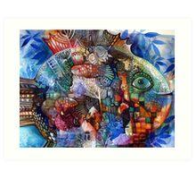 Big rune fish Art Print