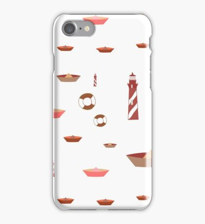 pattern with lighthouse, anchor, boat. iPhone Case/Skin