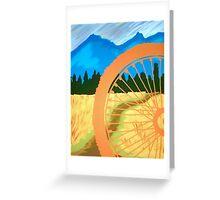 Mountain Biking Dirt Trail Scene Greeting Card