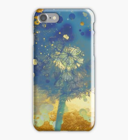 Golden Dreams II abstract Marine blue and gold dandelion puff iPhone Case/Skin